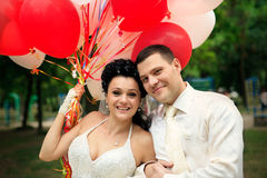 Newlywed with balloons Royalty Free Stock Photography