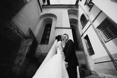 Newlywed bride and groom holding hands and kissing in old street Stock Photos