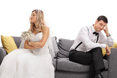 Newlywed coupe arguing with each other Royalty Free Stock Images