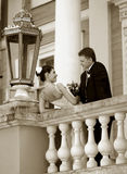 Newlywed couple. On their wedding day together Royalty Free Stock Image