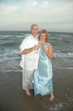 Newlywed couple on beach Stock Images