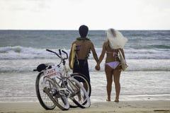 Newlywed couple on the beach Stock Photo
