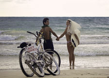 Newlywed couple on the beach Stock Images