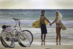 Newlywed couple on the beach Stock Image