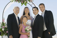 Newlywed Couple With Best Man And Family Stock Photography