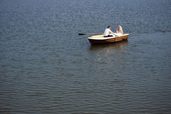 Newlywed couple on the boat Royalty Free Stock Image