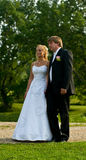 Newlywed couple in countryside Stock Images