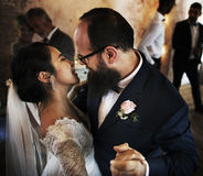 Newlywed Couple Dancing Wedding Celebration Stock Photography