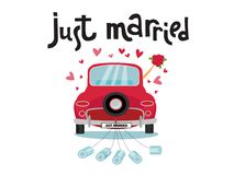 Newlywed couple is driving a vintage convertible car for their honeymoon with just married sign and cans attached. Just married. Red car with the bride and royalty free illustration