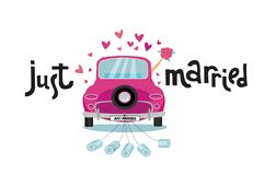 Newlywed couple is driving vintage pink car for their honeymoon with just married lettering sign and cans attached. Bride groom royalty free illustration
