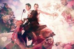 Newlywed couple enjoying scooter ride Stock Photos