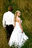 Newlywed couple in field. A view of a newlywed bride and groom, walking together in a field or meadow Royalty Free Stock Images