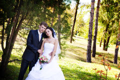 A newlywed couple in a forest Stock Images