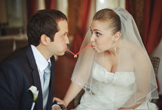 Newlywed couple going crazy. Royalty Free Stock Photo