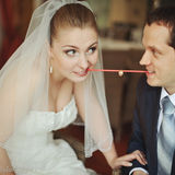 Newlywed couple going crazy. Stock Photography