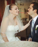 Newlywed couple going crazy. Royalty Free Stock Photography