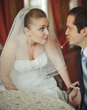 Newlywed couple going crazy. Royalty Free Stock Image