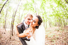 Newlywed couple going crazy. Groom and bride. Together Royalty Free Stock Images