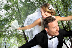 Newlywed couple happy together Royalty Free Stock Photos