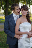 Newlywed couple having fun Stock Photo