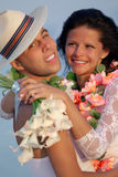 Newlywed couple in Hawaiian Hula Stock Image