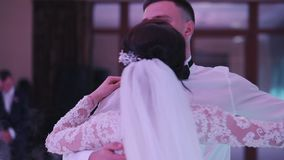 Newlywed couple dancing on their wedding day stock footage
