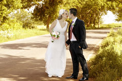 Newlywed couple kissing. Happy newlywed couple kissing on road in sunlit countryside stock images