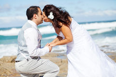 Newlywed couple kissing Stock Photography