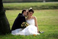 Newlywed couple kissing royalty free stock photos