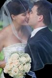 Newlywed Couple Kissing Royalty Free Stock Photo
