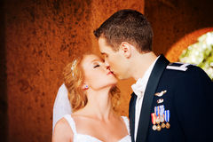 Newlywed Couple Kissing royalty free stock photography
