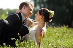 Newlywed couple kissing in field Royalty Free Stock Images