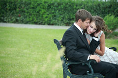 Newlywed couple in love. Newlywed couple happy in love stock image