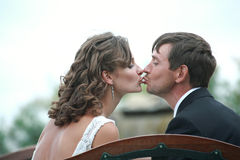 Newlywed couple in love. Newlywed couple happy in love stock photography
