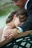 Newlywed couple in love. Newlywed couple happy in love royalty free stock photos