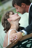 Newlywed couple in love. Newlywed couple happy in love royalty free stock photography