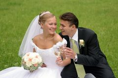 Newlywed couple in love wedding. Happy newlywed couple sat in field on wedding day Stock Photo