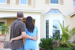 Newlywed Couple at New Home Stock Images