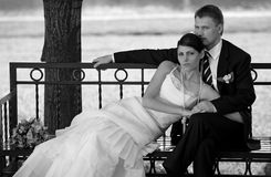 Newlywed couple on park bench royalty free stock image