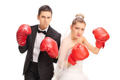 Newlywed couple posing with boxing gloves. Studio shot of an angry newlywed couple posing with red boxing gloves isolated on white background Royalty Free Stock Images