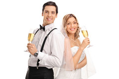 Newlywed couple posing together Stock Photos