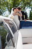 Newlywed Couple Standing Beside Limousine Stock Photo