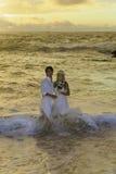 Newlywed couple at sunrise Royalty Free Stock Photo