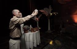 Newlywed couple toasting Stock Photo