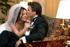 Newlywed couple on wedding day royalty free stock photography