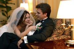 Newlywed couple on wedding day Stock Photo