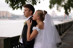Newlywed couple on wedding day Stock Image
