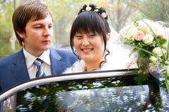 Newlywed couple wedding portrait Stock Photos