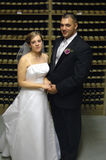 Newlywed couple in wine cellar. Newlywed couple holding hands in wine cellar Stock Photography