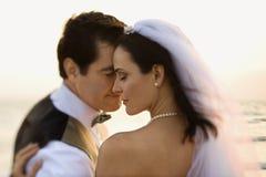 newlywed delle coppie della spiaggia Immagine Stock